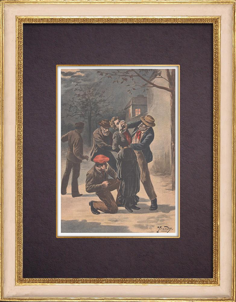 Gravures Anciennes & Dessins | Vengeance de braconniers à Triel - Ile de France - 1901 | Gravure sur bois | 1901