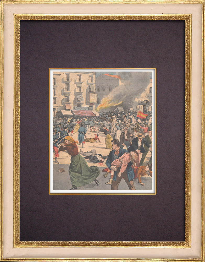 Antique Prints & Drawings | History of Catalonia - Riot at Barcelona - Spain - 1901 | Wood engraving | 1901
