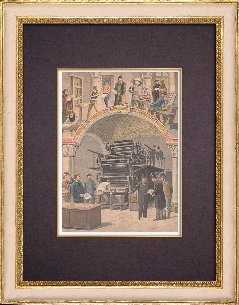 Antique Prints & Drawings   History of Printing - Gutenberg - Marinoni - Rotary press   Wood engraving   1901