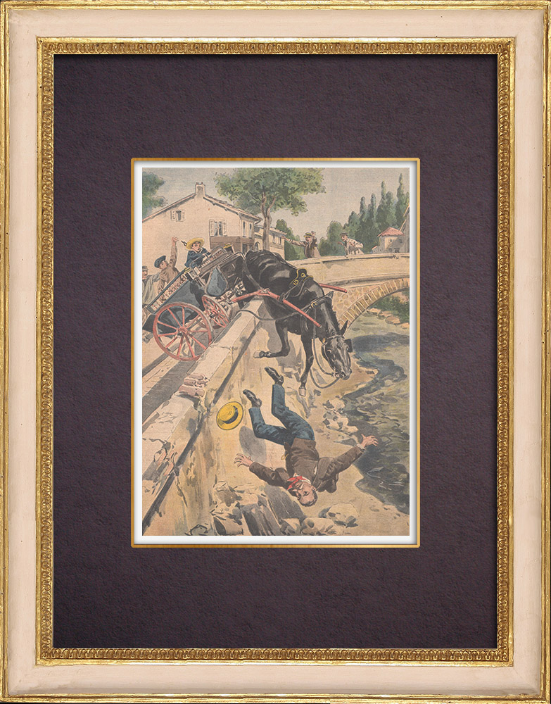 Antique Prints & Drawings | A man and a mule fall from the Airoles bridge near Nîmes - France - 1901 | Wood engraving | 1901