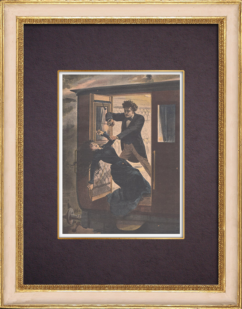 Antique Prints & Drawings | Assassination in a train of Petite Ceinture - Paris - 1901 | Wood engraving | 1901
