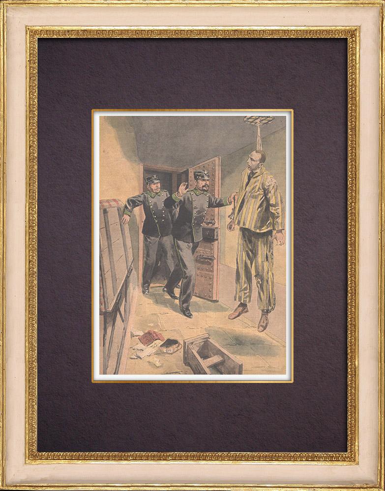 Gravures Anciennes & Dessins | Suicide de Gaetano Bresci au pénitentier de Santo Stefano - Italie - 1901  | Gravure sur bois | 1901