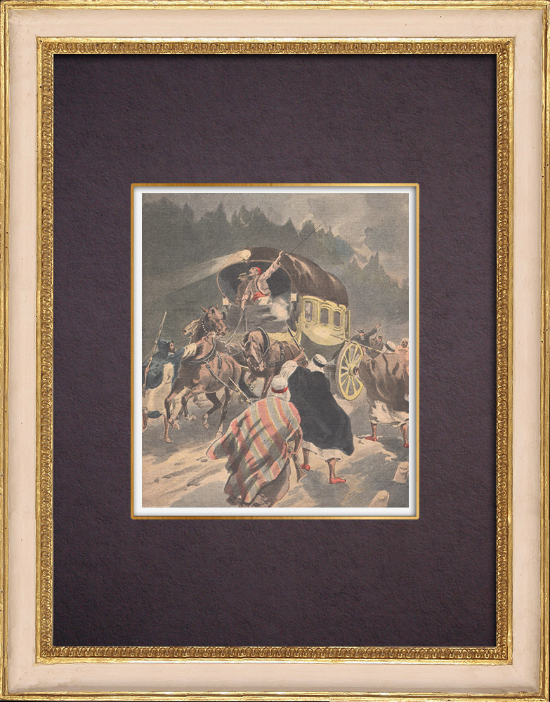 Antique Prints & Drawings | A diligence attacked by brigands near Jemmapes - Algeria - 1901 | Wood engraving | 1901
