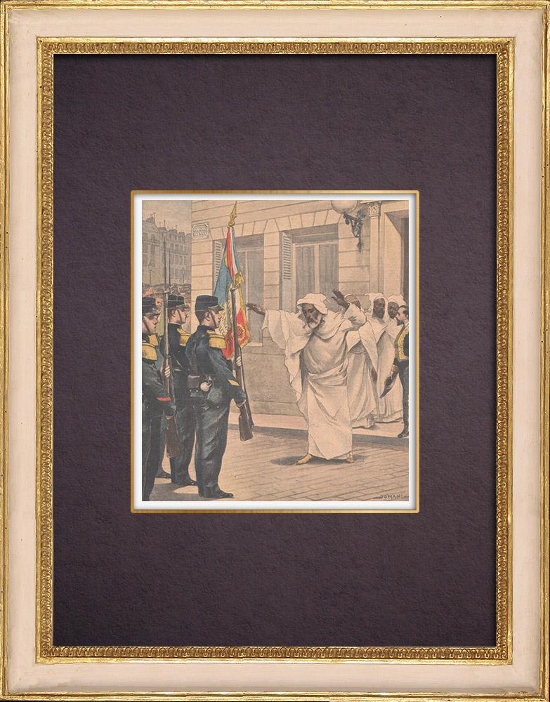 Gravures Anciennes & Dessins | Le chef de l'Ambassade du Maroc salue le drapeau français - Toulon - 1901 | Gravure sur bois | 1901