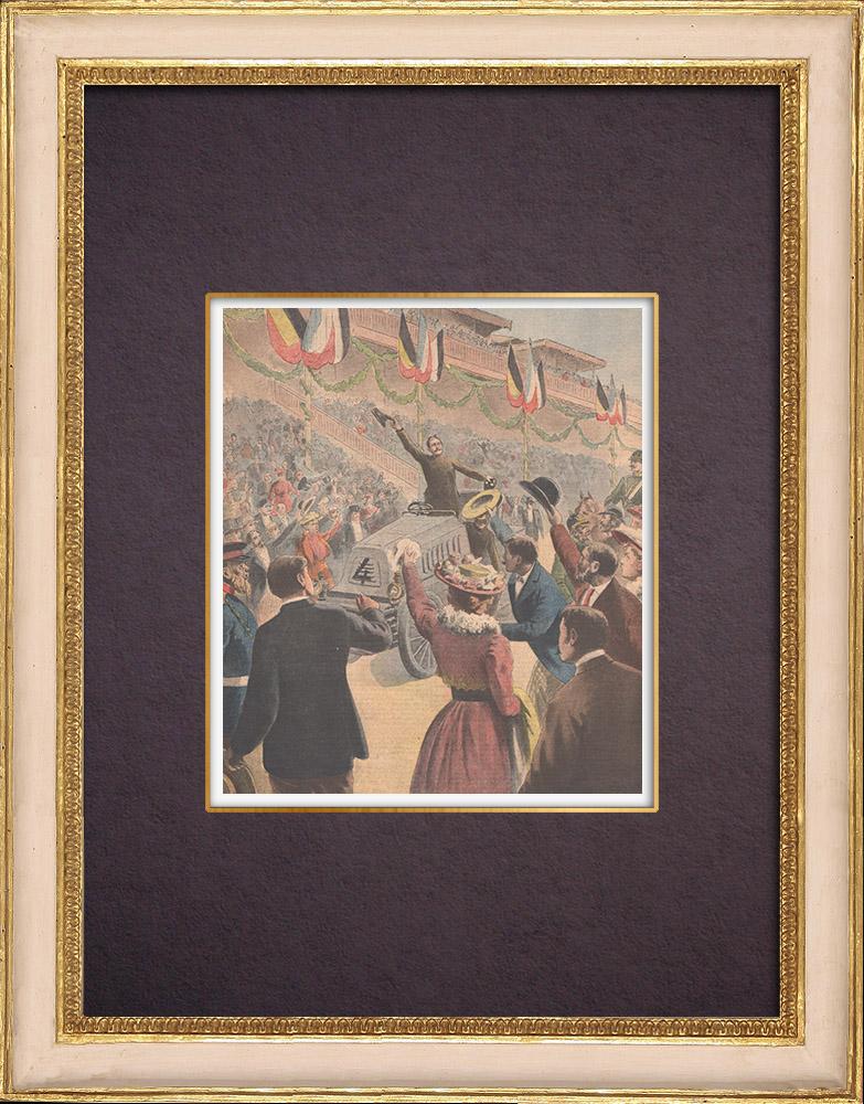 Antique Prints & Drawings   Paris-Berlin car race - Winner's arrival Henry Fournier - Germany - 1901   Wood engraving   1901