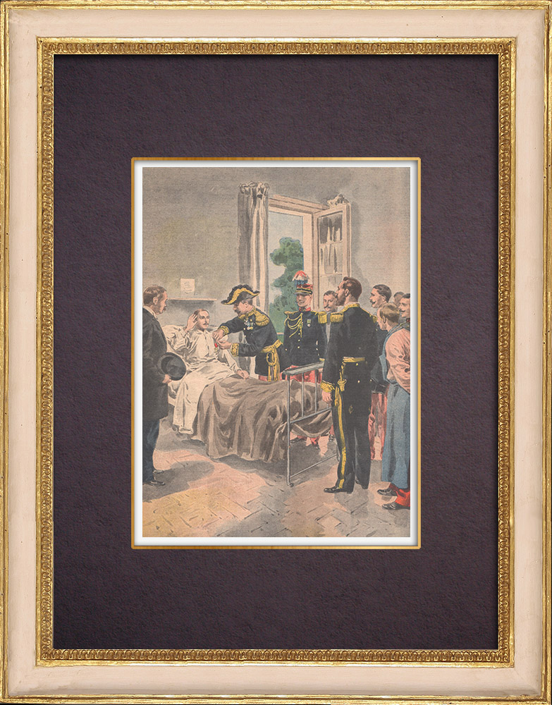Antique Prints & Drawings | Presentation of the Legion of Honor to a wounded soldier, at the hospital - Toulon - 1901 | Wood engraving | 1901