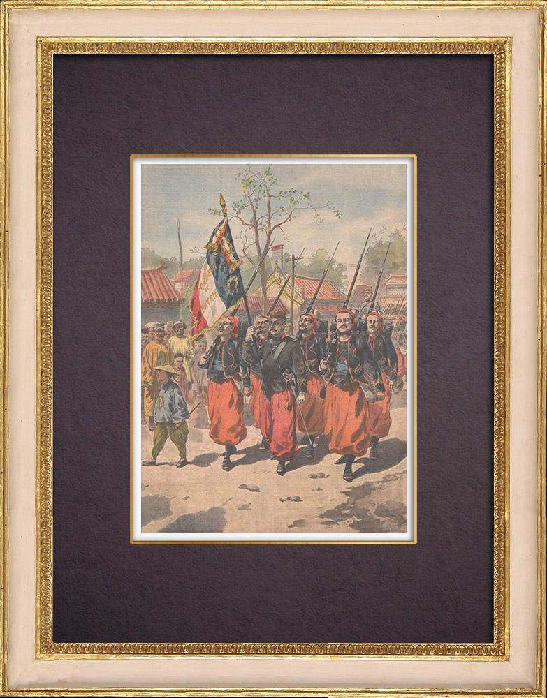 Gravures Anciennes & Dessins   Expédition de Chine - Les Zouaves rapatriés quittent Tien-Tsin - Chine - 1901   Gravure sur bois   1901