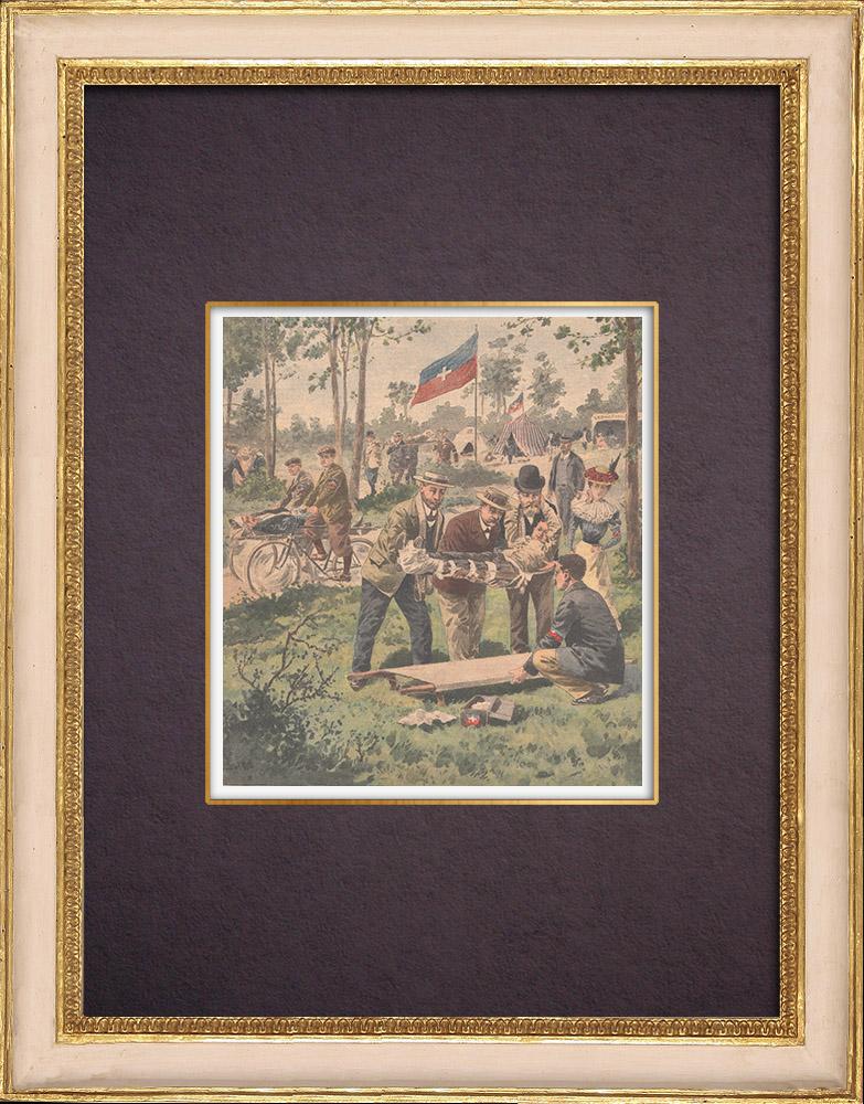 Antique Prints & Drawings | Secouristes français Croix-Blanche - Bois de Meudon - Île-de-France | Wood engraving | 1901