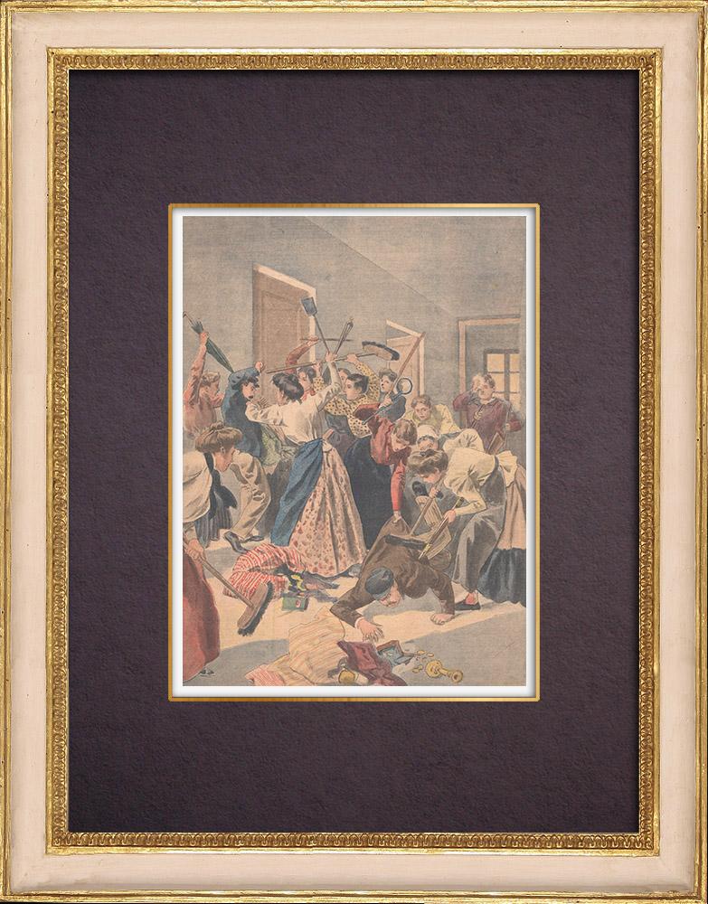Gravures Anciennes & Dessins   Arrestation de cambrioleurs par des femmes à Paris - 1901   Gravure sur bois   1901