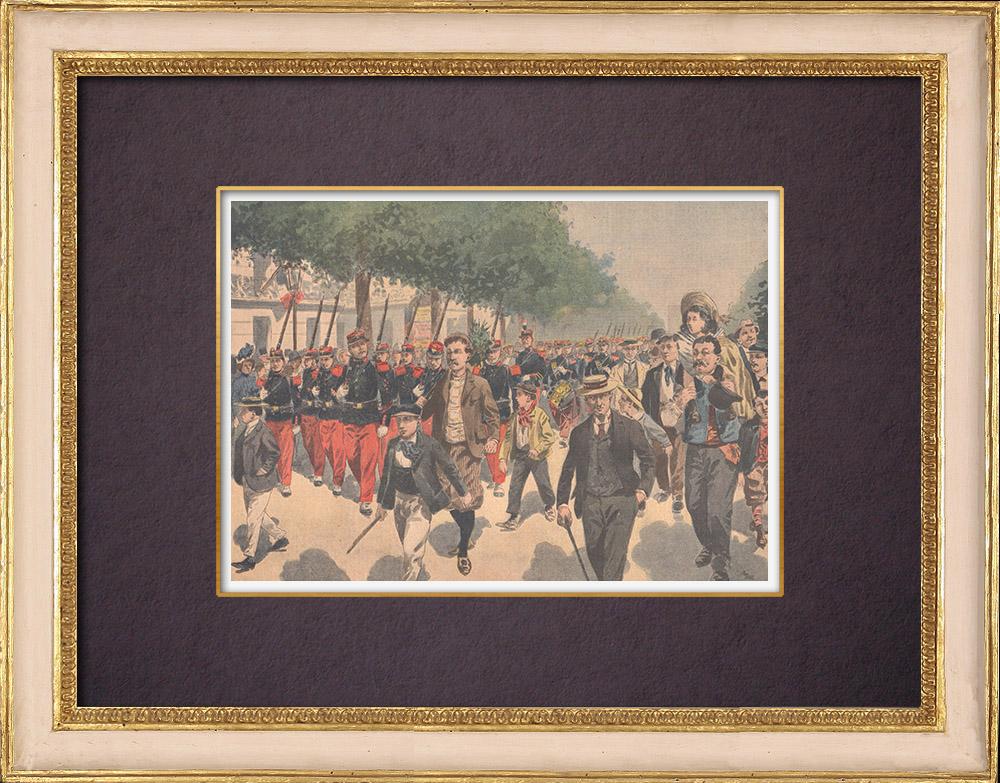Gravures Anciennes & Dessins | Fête nationale française - Revue militaire - 14 Juillet 1901 - Paris | Gravure sur bois | 1901