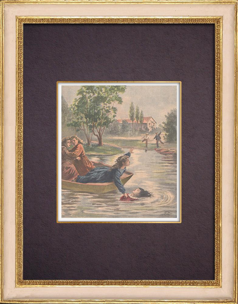 Gravures Anciennes & Dessins | Une fillette sauve son amie de la noyade - Port-à-l'Anglais - Ile de France - 1901 | Gravure sur bois | 1901
