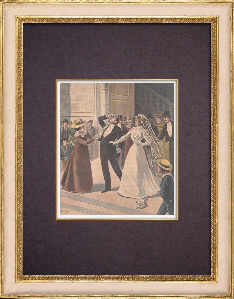 Antique Prints & Drawings | A man attacks the married man with vitriol at Limoges - 1901 | Wood engraving | 1901