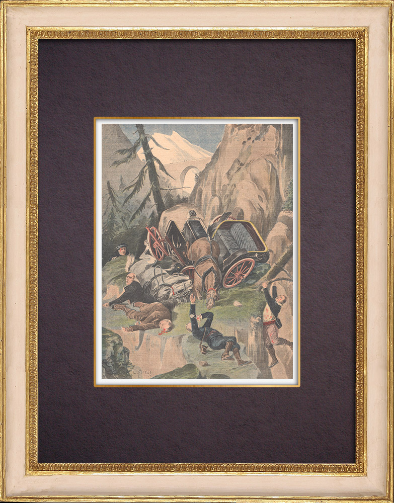 Antique Prints & Drawings   Fall of a cart in a ravine near Cauterets - Pyrenees - Pyrénées - 1901    Wood engraving   1901