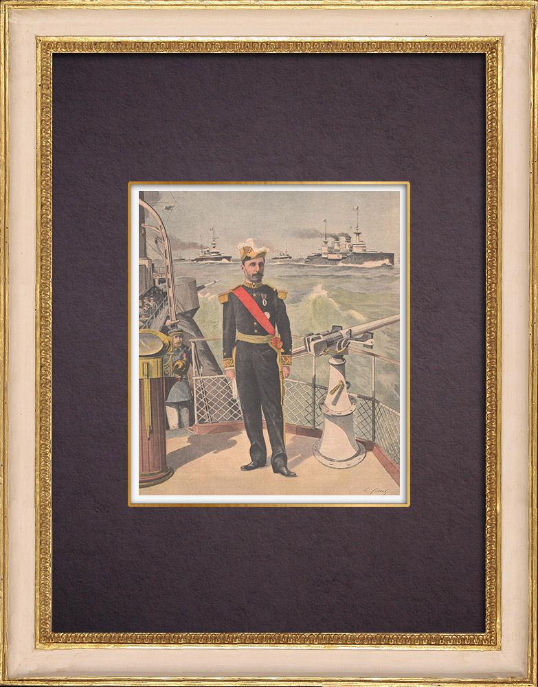 Gravures Anciennes & Dessins | Portrait de l'Amiral Alfred Gervais (1837-1921) | Gravure sur bois | 1901