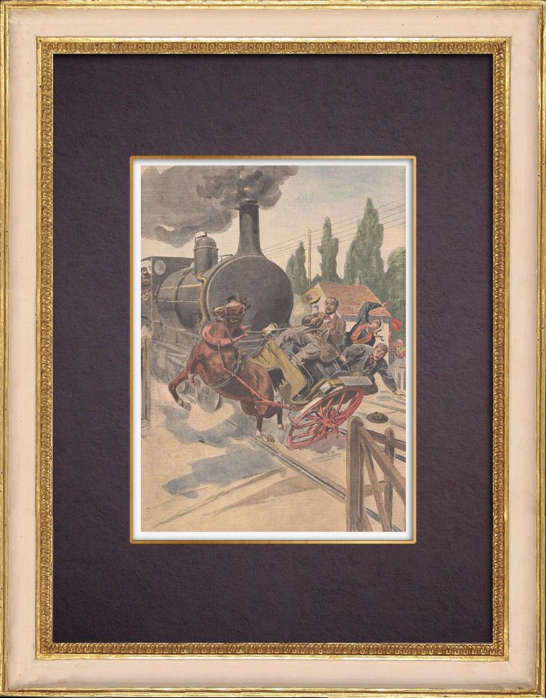 Gravures Anciennes & Dessins   Accident au passage à niveau de Bérenx - Pyrénées-Atlantiques - France - 1901   Gravure sur bois   1901