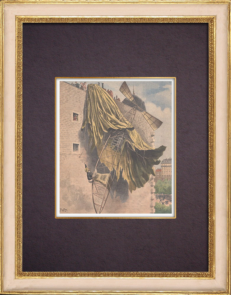 Antique Prints & Drawings | Airship crash of Santos Dumont over Paris - 1901 | Wood engraving | 1901