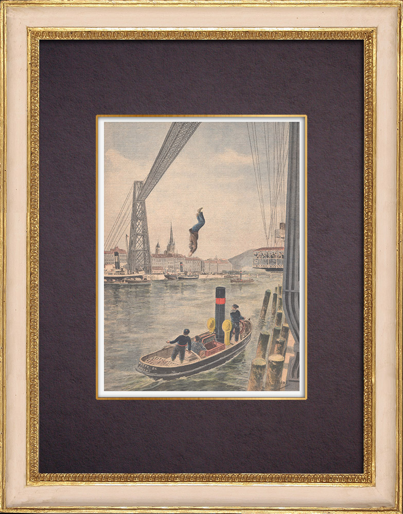 Antique Prints & Drawings | A man dives from the Rouen transporter bridge - France - 1901 | Wood engraving | 1901