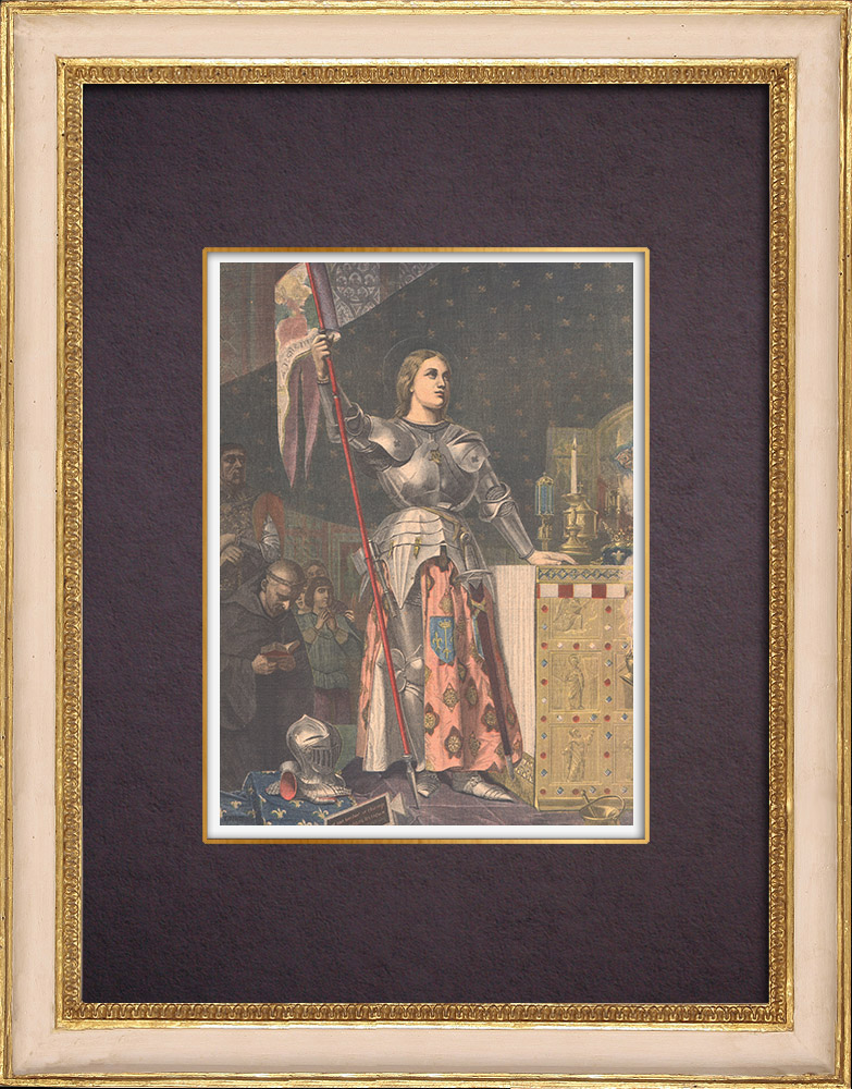 Antique Prints & Drawings | Joan of Arc at the Coronation of Charles VII - Painting - Ingres (1854) | Wood engraving | 1901