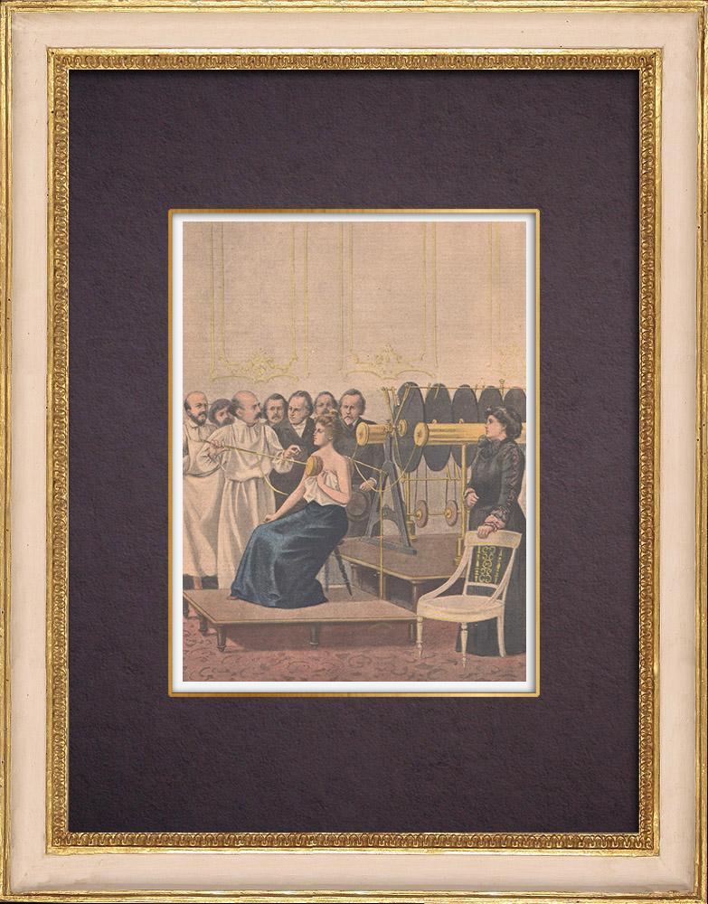 Gravures Anciennes & Dessins   Francisque Crötte traite la tuberculose à l'aide de l'électricité - Congrès de Londres - 1901   Gravure sur bois   1901