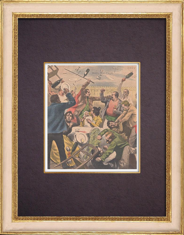 Gravures Anciennes & Dessins | Bagarre après un baptême chez les Roms - Asnières - Ile de France - 1901 | Gravure sur bois | 1901