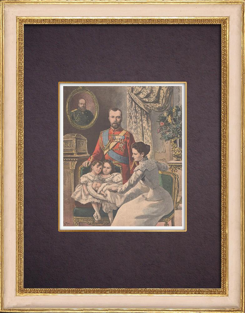 Gravures Anciennes & Dessins | Portrait de la famille impériale de Russie - 1901 | Gravure sur bois | 1901