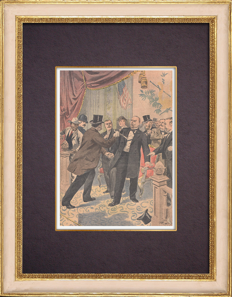 Antique Prints & Drawings | Assassination of William McKinley, President of the United States - Buffalo - 1901 | Wood engraving | 1901