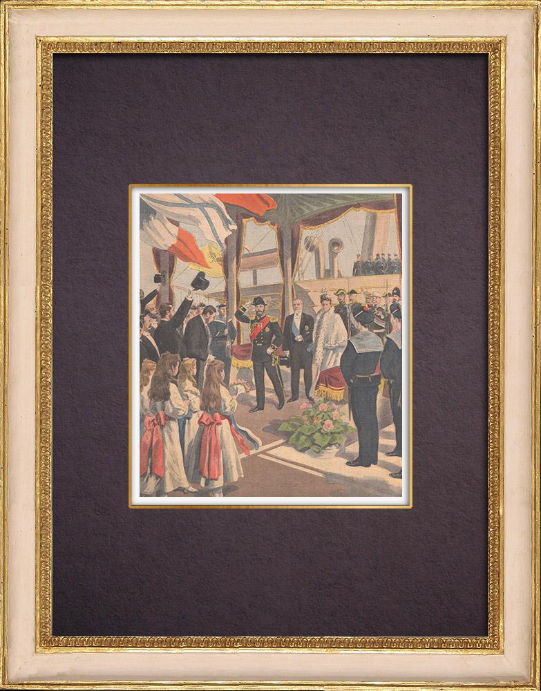 Gravures Anciennes & Dessins | Arrivée du tsar Nicolas II de Russie à Dunkerque - France - 1901 | Gravure sur bois | 1901