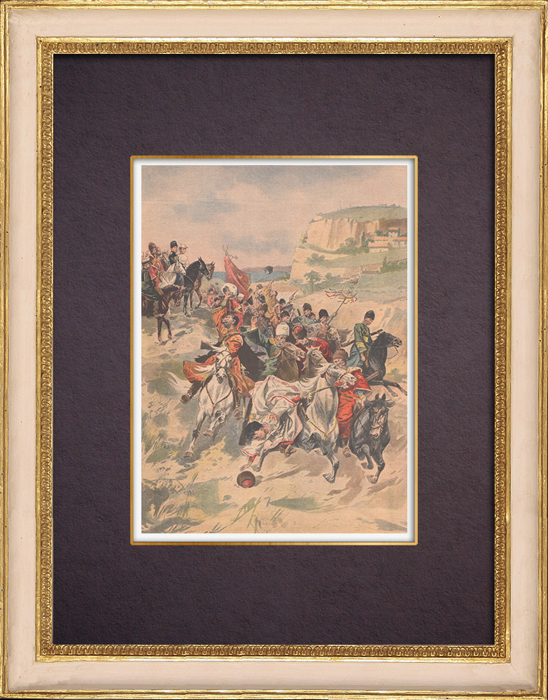 Gravures Anciennes & Dessins   Nicolas II assiste aux exercices des Cosaques à Livadia - Crimée - 1901   Gravure sur bois   1901