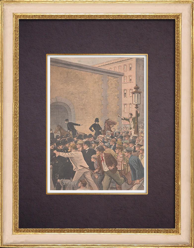 Gravures Anciennes & Dessins | La foule veut lyncher Emma Goldman à Chicago - États-Unis d'Amérique - 1901 | Gravure sur bois | 1901