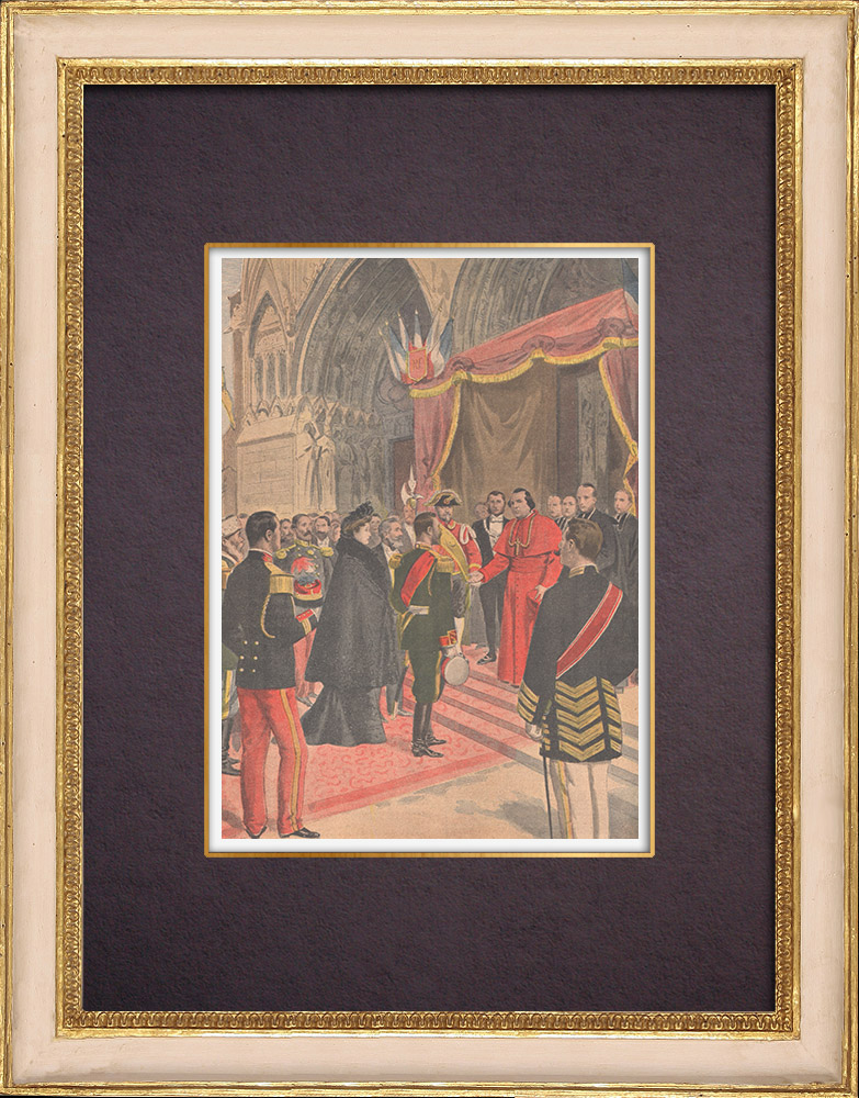 Antique Prints & Drawings   Nicholas II of Russia in the cathedral of Reims - France - 1901   Wood engraving   1901
