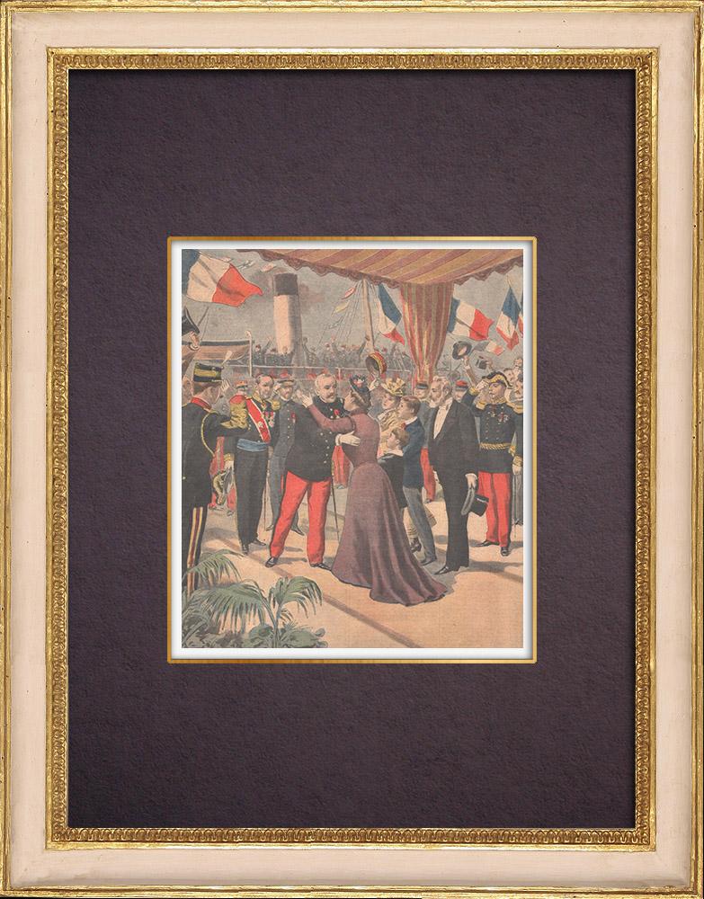 Gravures Anciennes & Dessins | De retour de Chine, le général Voyron retrouve sa famille à Marseille - France - 1901 | Gravure sur bois | 1901