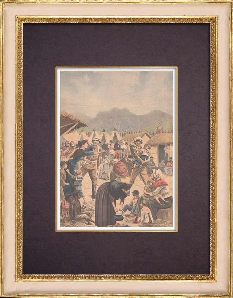 Antique Prints & Drawings   Concentration camp in the Transvaal during the Boer War - South Africa - 1901   Wood engraving   1901