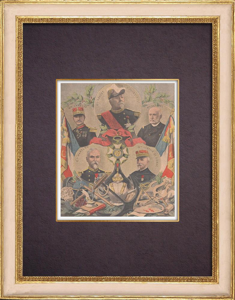 Gravures Anciennes & Dessins | Grands chanceliers de la Légion d'honneur - Révocation du général Davout - 1901 | Gravure sur bois | 1901