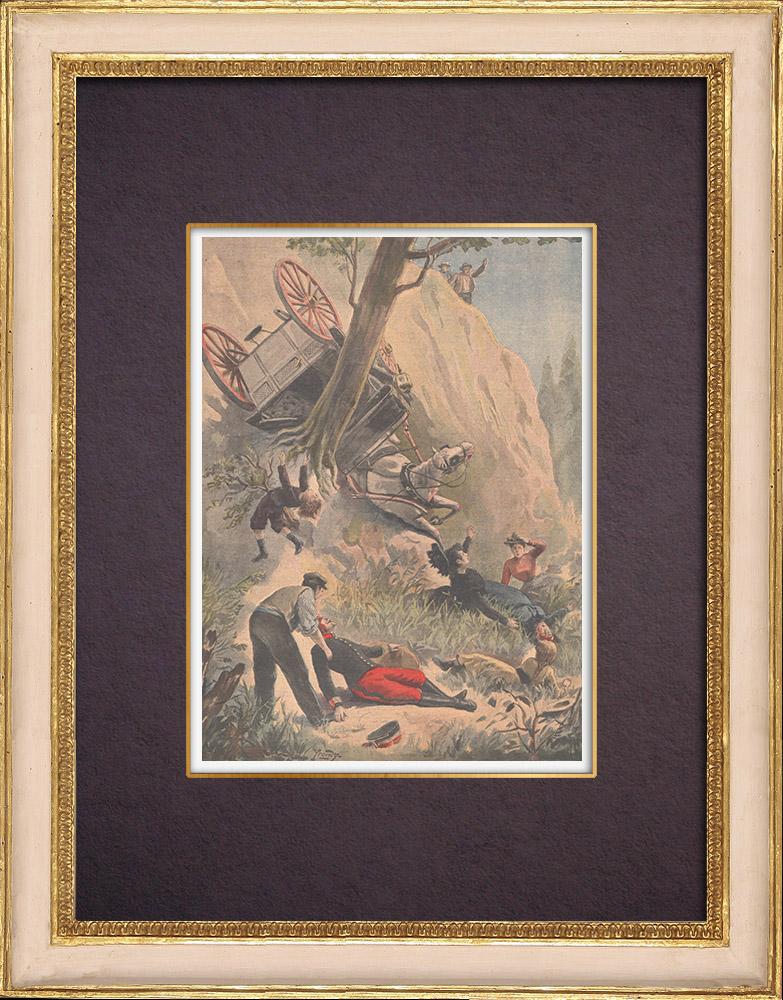 Gravures Anciennes & Dessins | Le colonel de Savignac et sa famille tombent dans un ravin - Haute-Vienne - 1901 | Gravure sur bois | 1901