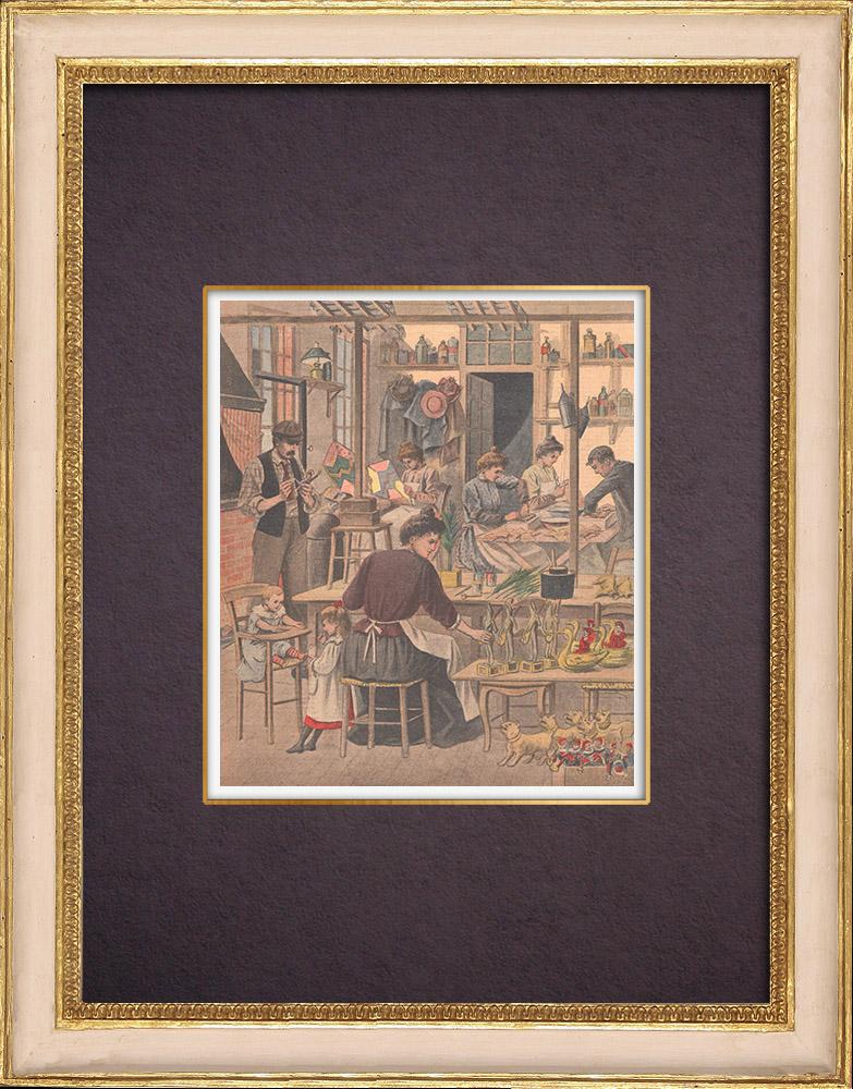 Gravures Anciennes & Dessins   Louis Lépine lance un concours de jouets à Paris - 1901 - France   Gravure sur bois   1901