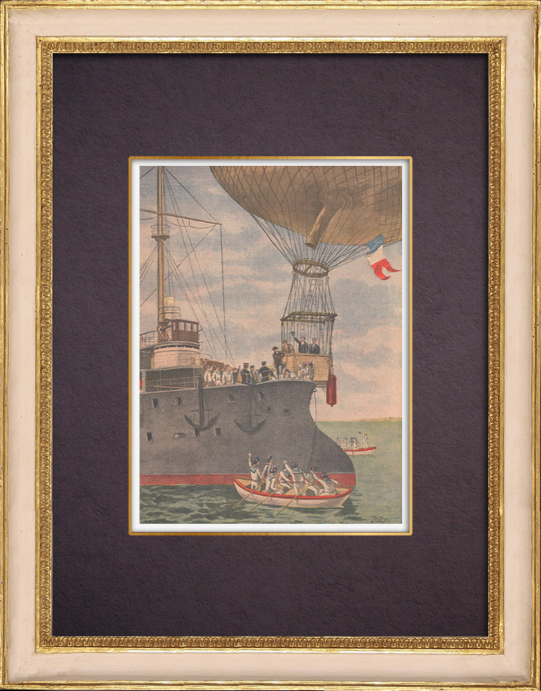 Antique Prints & Drawings | The balloon Méditerranée, escorted by the cruiser Du Chayla, tries to cross the sea - 1901 | Wood engraving | 1901