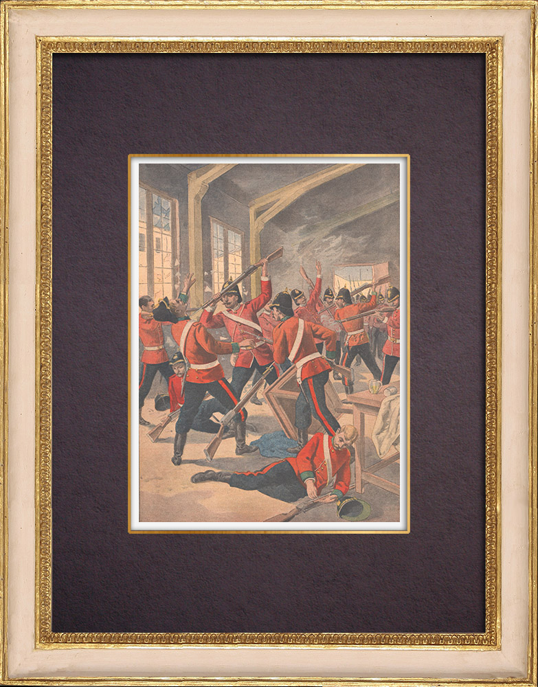 Antique Prints & Drawings | Fight between two English regiments ready to leave to the Transval - Aldershot - 1901 | Wood engraving | 1901