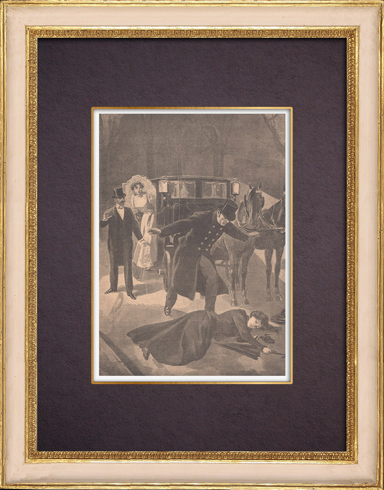Antique Prints & Drawings | A woman murdered  in a fit of jealousy in Chatou - Île-de-France - 1901 | Wood engraving | 1901