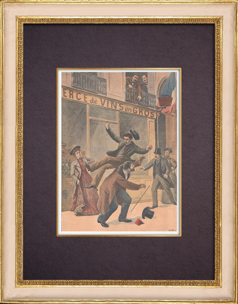 Antique Prints & Drawings | A thief jumps through the window of the police station - Quartier du Mail - Paris - 1901 | Wood engraving | 1901