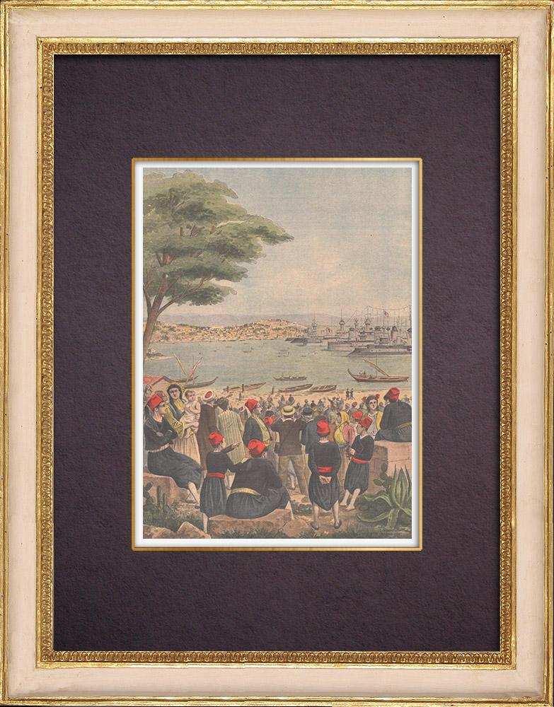 Gravures Anciennes & Dessins   Conflit franco-turc - La Marine française à Mytilène - île de Lesbos - Grèce - 1901   Gravure sur bois   1901