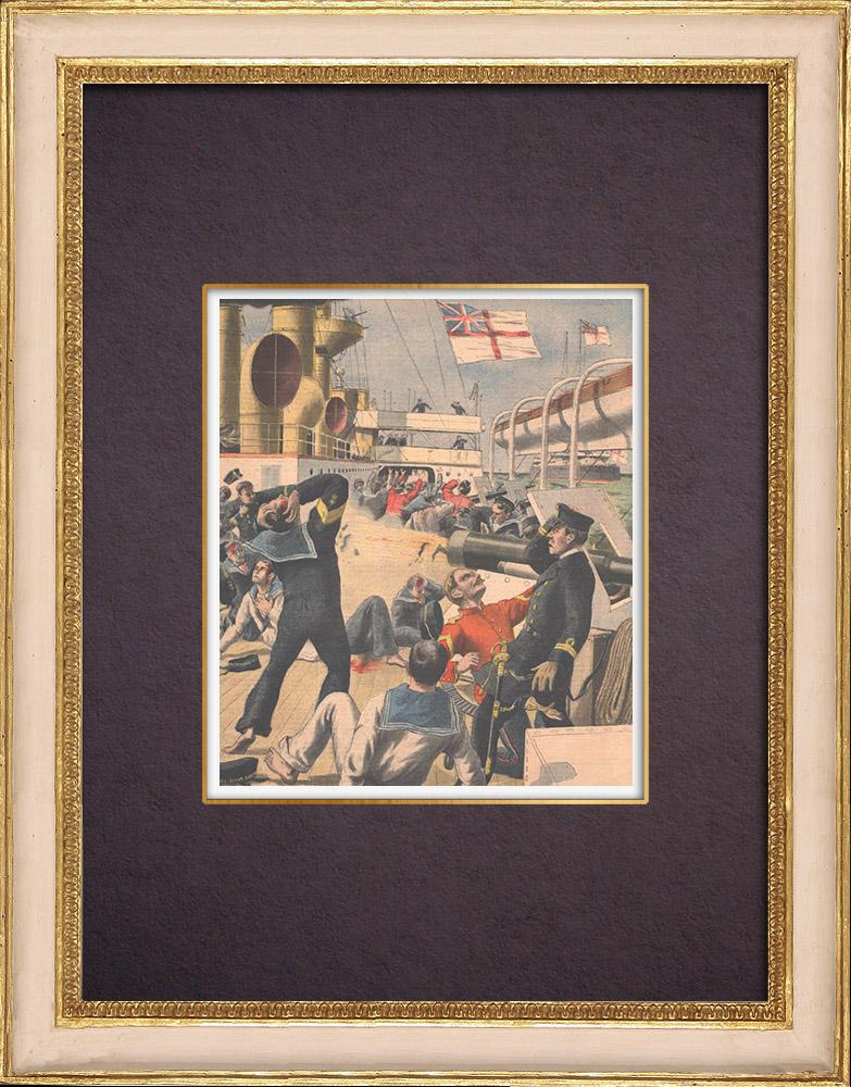 Gravures Anciennes & Dessins   Explosion à bord du navire anglais Royal-Sovereign - Méditerranée - 1901   Gravure sur bois   1901