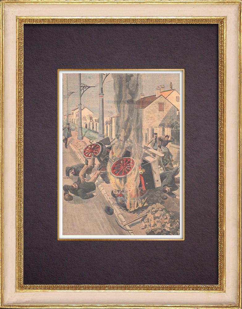 Gravures Anciennes & Dessins | Un terrassier écrasé et brûlé par une automobile - Ile de France - 1901 | Gravure sur bois | 1901