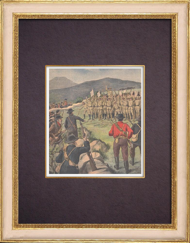 Gravures Anciennes & Dessins | Guerre du Transvaal - Reddition de soldats anglais - 1901 | Gravure sur bois | 1901