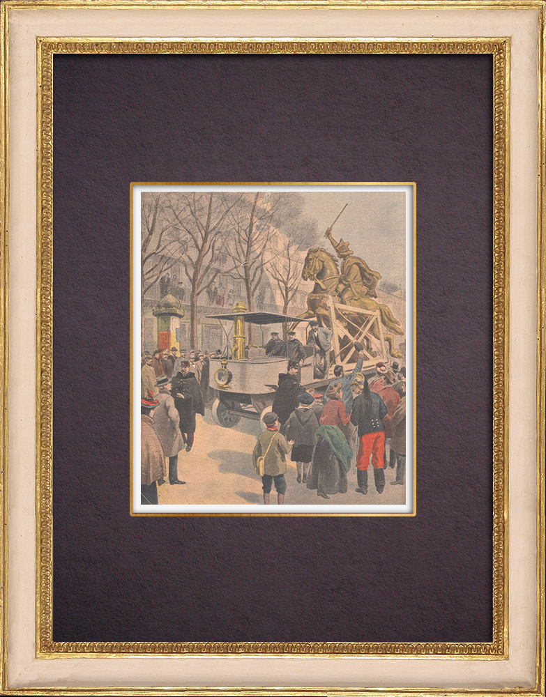 Antique Prints & Drawings | Equestrian statue of Vercingetorix - Transportation - Paris - Clermont-Ferrand - 1901 | Wood engraving | 1901
