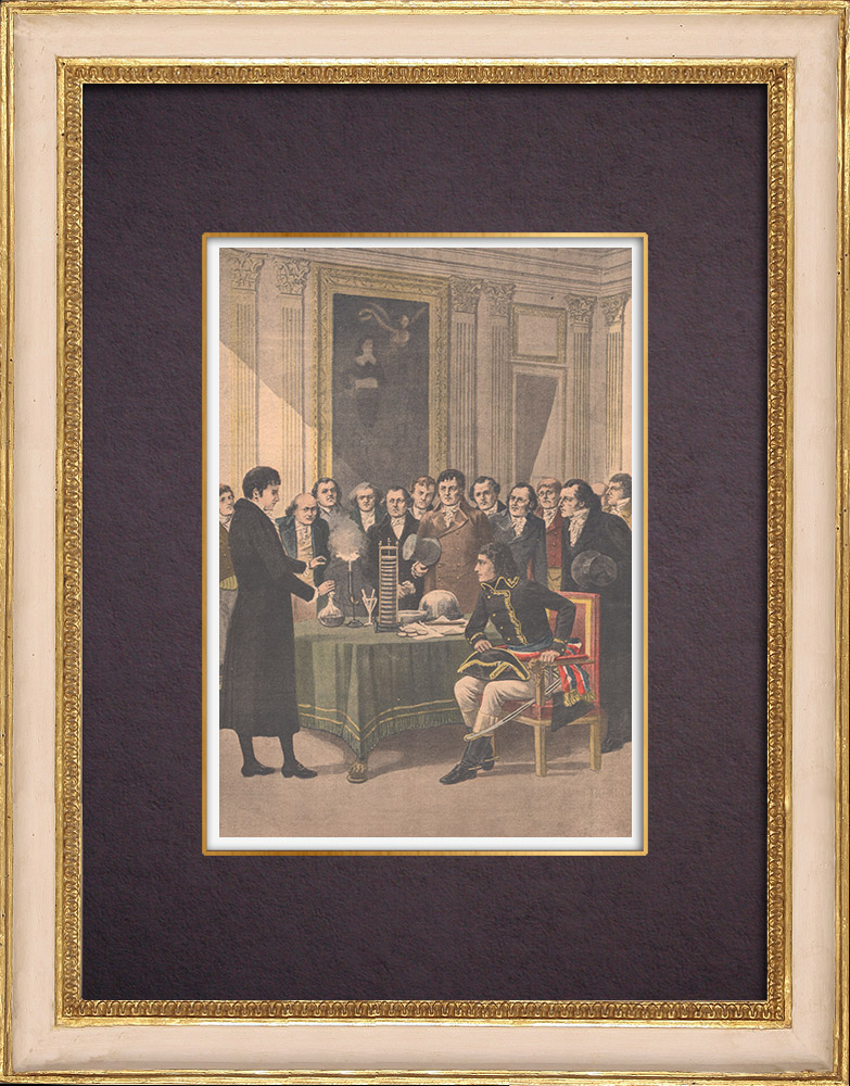 Antique Prints & Drawings | Voltaic pile - Bonaparte attends the demonstration of Alessandro Volta - Paris - 1801 | Wood engraving | 1901