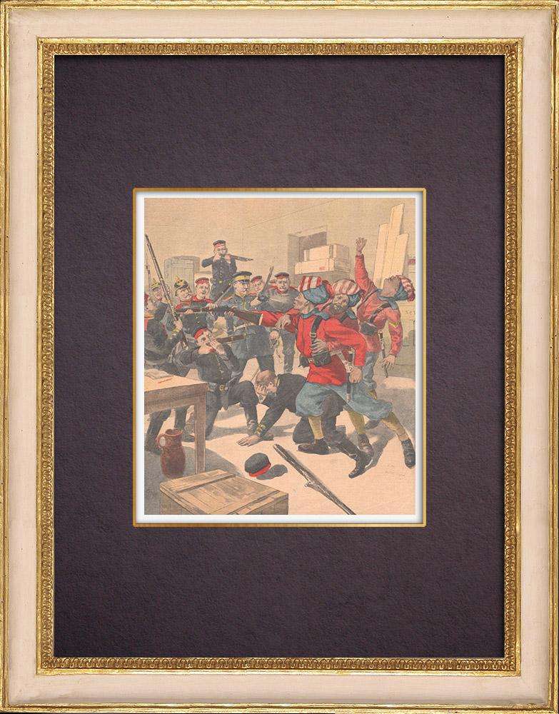 Gravures Anciennes & Dessins | Rixe entre soldats allemands et anglais à Tien-Tsin - Chine - 1901 | Gravure sur bois | 1901