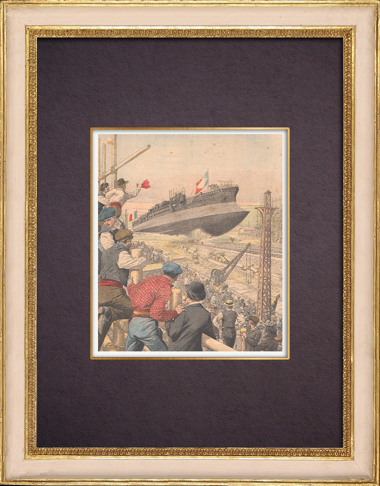 Antique Prints & Drawings | Launching of French battleship Patrie in the port of Toulon - France - 1903 | Wood engraving | 1904