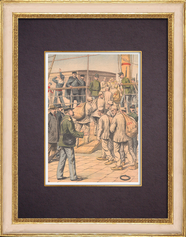 Antique Prints & Drawings | Embarkation of convicts to Guyana - 1904 | Wood engraving | 1904