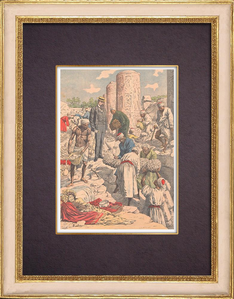 Gravures Anciennes & Dessins | Les fouilles d'Albert Gayet à Antinoé - Egypte Antique - 1904 | Gravure sur bois | 1904