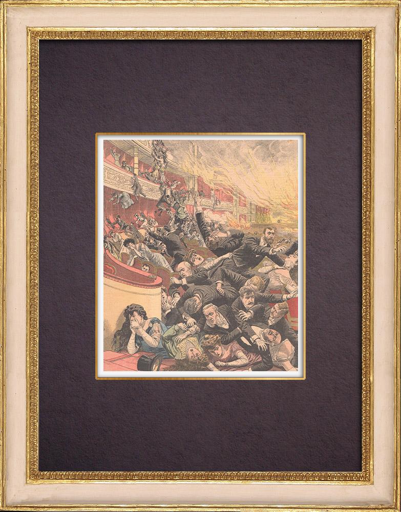Gravures Anciennes & Dessins   Incendie au théâtre Iroquois de Chicago - Nombreux morts - États-Unis d'Amérique - 1903   Gravure sur bois   1904